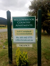 Our Accommodation sign at the gate